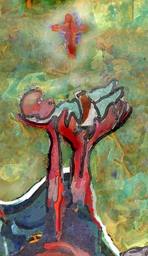 Het belang van het kind is een mythologisch ritueel; schilderij onderdeel van het paneel circus familierecht, klik hier